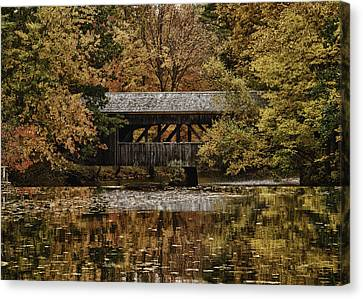 Canvas Print featuring the photograph Covered Bridge At Sturbridge Village by Jeff Folger