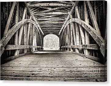 Covered Bridge B N W Canvas Print