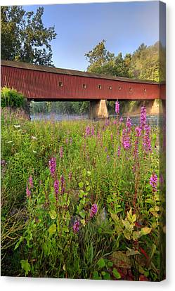 Covered Bridge West Cornwall Canvas Print by Bill Wakeley