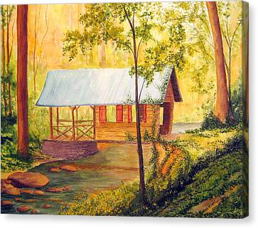 Covered Bridge Boone Nc Canvas Print by Julia Rietz