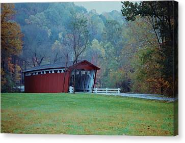Canvas Print featuring the photograph Covered Bridge by Diane Alexander