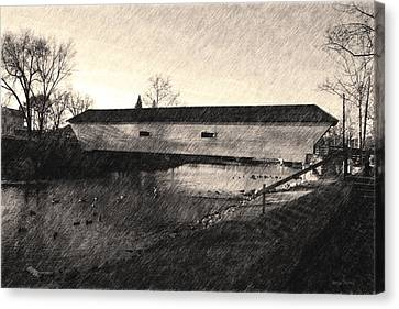 Covered Bridge Elizabethton Tennessee C. 1882 Sepia Canvas Print by Denise Beverly