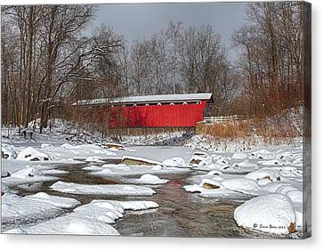 covered bridge Everett rd. Canvas Print by Daniel Behm