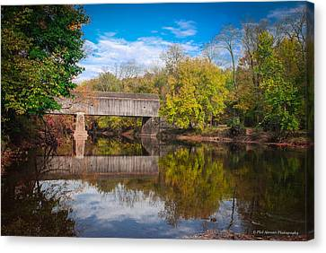 Canvas Print featuring the photograph Covered Bridge In Autumn by Phil Abrams