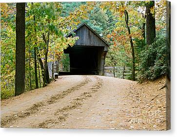 Canvas Print featuring the photograph Covered Bridge In October by Vinnie Oakes