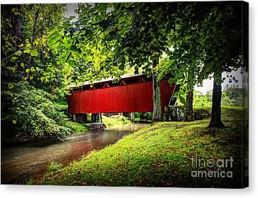 Covered Bridge In Pa Canvas Print by Dan Friend