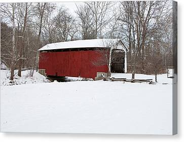 Covered Bridge In Snow Covered Forest Canvas Print by Panoramic Images