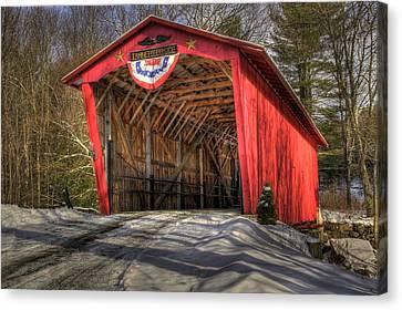 Covered Bridge In Snow Canvas Print by Patti Burnett