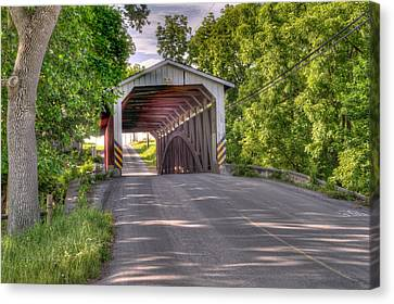 Canvas Print featuring the photograph Covered Bridge by Jim Thompson