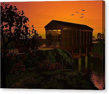 Covered Bridge Canvas Print by John Pangia