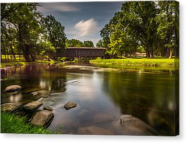 Covered Bridge Long Exposure Canvas Print by Randy Scherkenbach