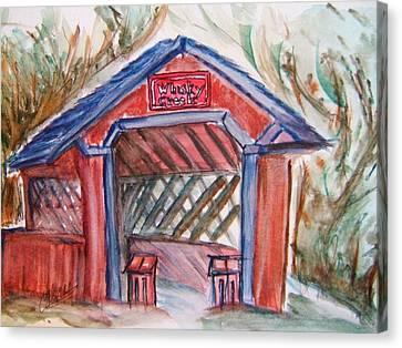 Covered Bridge Loretto Kentucky Canvas Print by Elaine Duras