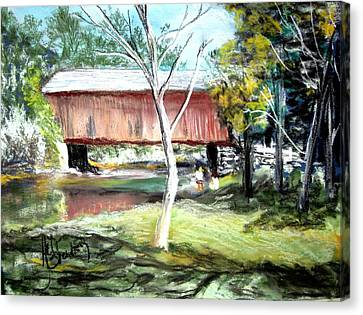 Covered Bridge Newport Nh Canvas Print by Art  Stenberg
