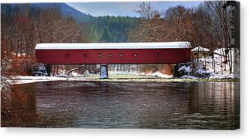 Covered Bridge Of West Cornwall-winter Panorama Canvas Print by Thomas Schoeller