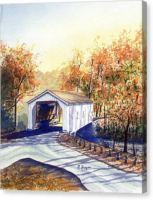 Covered Bridge On The Lochatong Canvas Print