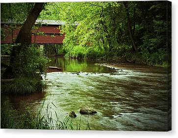 Covered Bridge Over French Creek Canvas Print by Michael Porchik