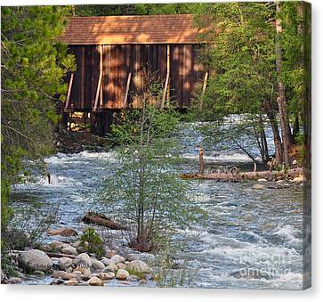 Canvas Print featuring the photograph Covered Bridge Over The River by Debby Pueschel