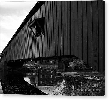 Covered Bridge Reflections Bw Canvas Print by Mel Steinhauer