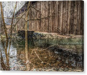 Covered Bridge Snowy Day Canvas Print by Susan Maxwell Schmidt