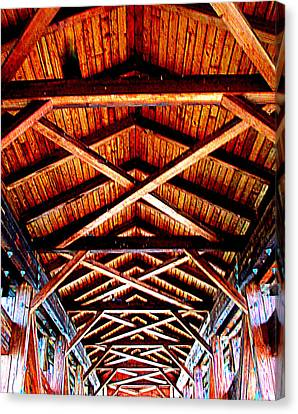 Covered Bridge Structure Canvas Print by Randall Weidner