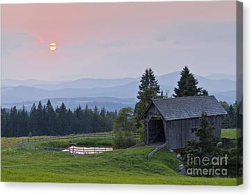 Covered Bridge Sunset Canvas Print by Alan L Graham