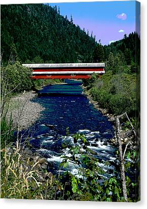 Covered Bridge The Office Bridge Canvas Print by Charles Shoup