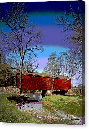Covered Bridge Thurmont Maryland Canvas Print by Charles Shoup