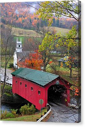 New England Autumn Canvas Print - Covered Bridge-west Arlington Vermont by Thomas Schoeller