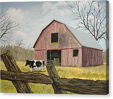 Cow And Barn Canvas Print