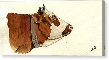 Cow Head Study Drawing Canvas Print by Juan  Bosco