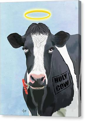 Cow Holy Cow Canvas Print by Kelly McLaughlan