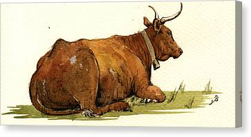 Cow In The Grass Canvas Print by Juan  Bosco