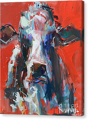 Cow On Red Canvas Print by Robert Joyner