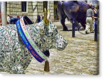 Cow Parade N Y C  2000 - Live Stock Cow Canvas Print by Allen Beatty