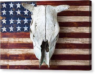 Cow Skull On Folk Art American Flag Canvas Print by Garry Gay