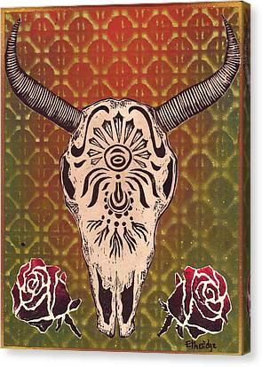Linoleum Cut Canvas Print - Cow Skull W/roses by William p Etheridge jr