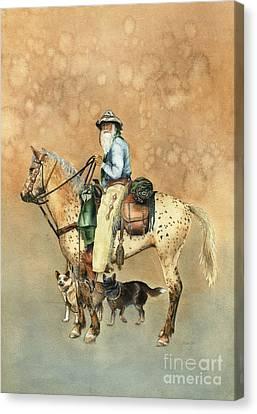 Cowboy And Appaloosa Canvas Print by Nan Wright