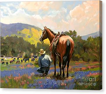 Cowboy And His Cows Canvas Print