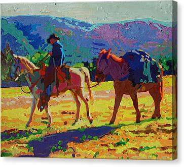 Cowboy And Pack Mule 2 Canvas Print by Thomas Bertram POOLE