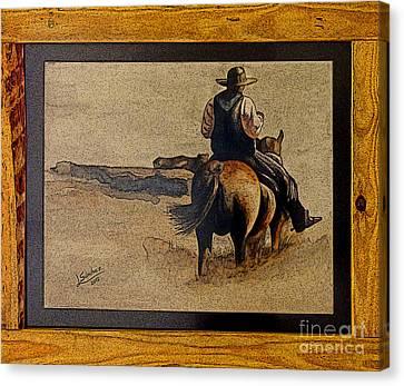 Cowboy Art By L. Sanchez Canvas Print