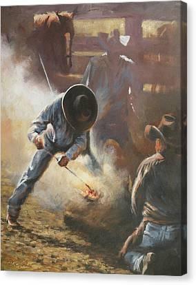 Cowboy Bar-code Canvas Print by Mia DeLode