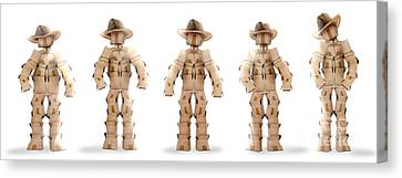 Cardboard Canvas Print - Cowboy Boxmen Characters On White by Simon Bratt Photography LRPS