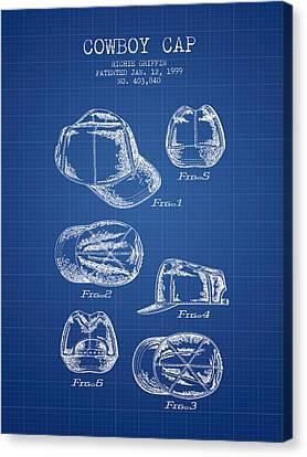 Cowboy Cap Patent - Blueprint Canvas Print by Aged Pixel