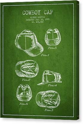 Cowboy Cap Patent - Green Canvas Print by Aged Pixel