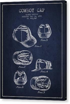 Cowboy Cap Patent - Navy Blue Canvas Print by Aged Pixel