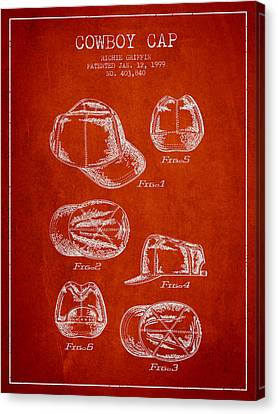 Cowboy Cap Patent - Red Canvas Print by Aged Pixel