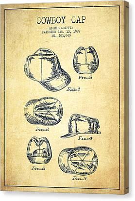 Cowboy Cap Patent - Vintage Canvas Print by Aged Pixel