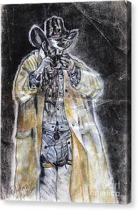 Cowboy Drinking Coffee Canvas Print by Francine Heykoop