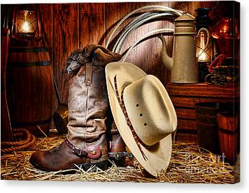 Canvas Print featuring the photograph Cowboy Gear by Olivier Le Queinec