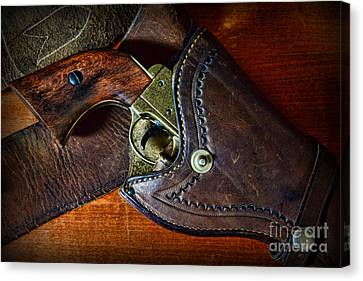 Law Enforcement Canvas Print - Cowboy Gun In Holster by Paul Ward